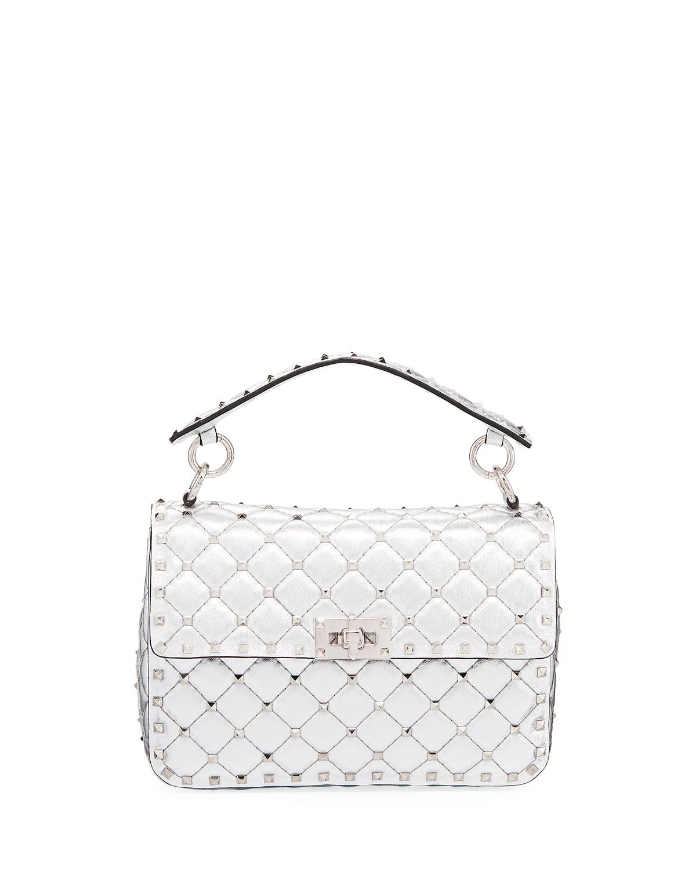 Valentino Garavani Rockstud Spike Metallic Medium Shoulder Bag ... d8aeec52d4245
