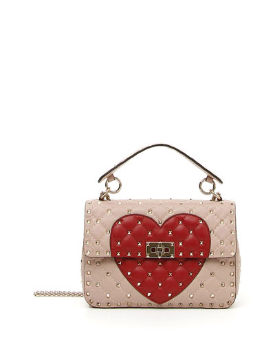 Rockstud Quilted Heart Shoulder Bag