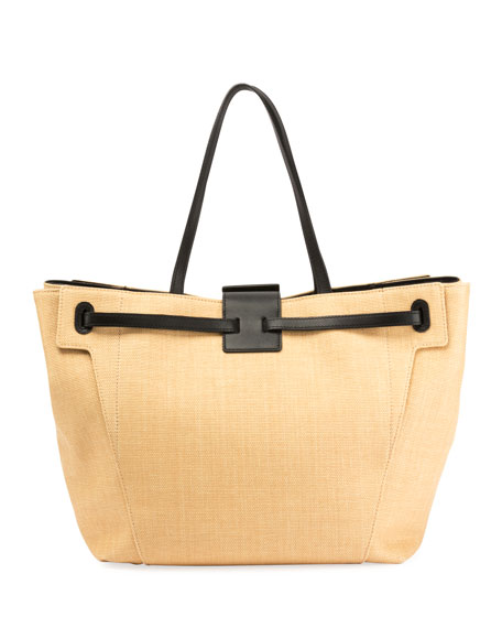 Viv Flower-Embroidered Straw Tote Bag
