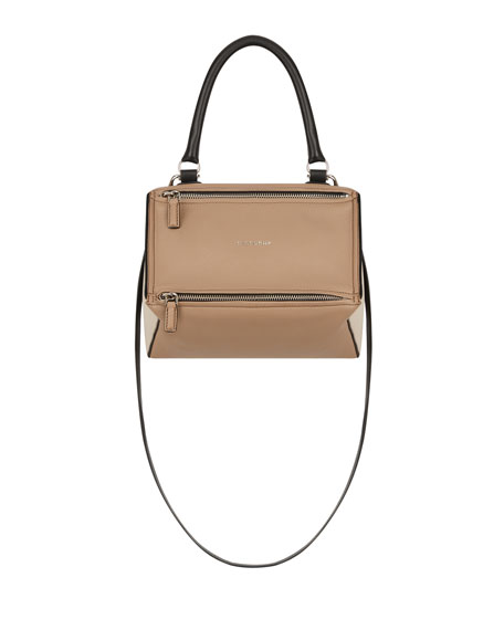 MEDIUM PANDORA BOX TRICOLOR LEATHER CROSSBODY BAG - BEIGE