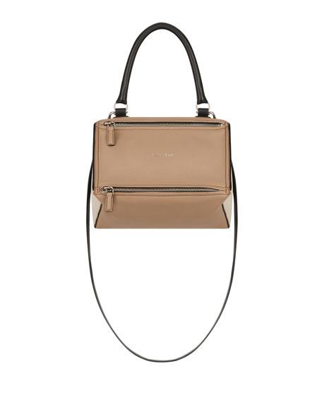 Medium Pandora Box Tricolor Leather Crossbody Bag - Beige, Light Beige