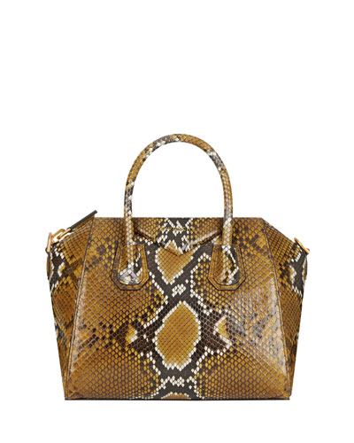 Antigona Small Shiny Python Satchel Bag