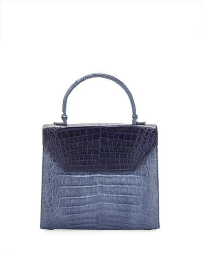 Lily Medium Two-Tone Crocodile Top-Handle Bag