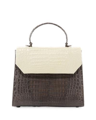 Lily Large Two-Tone Crocodile Top-Handle Bag
