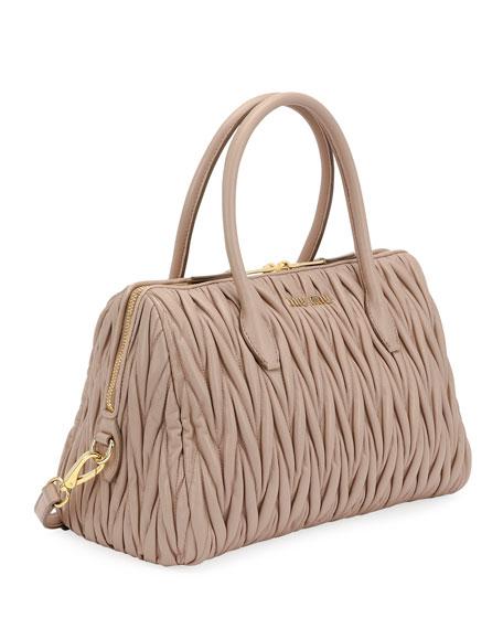 Matelassé Leather Medium Satchel Bag