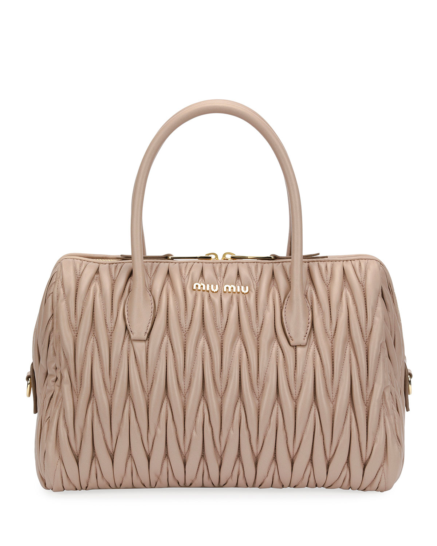 51b8214cf42a Miu Miu Matelassé Leather Medium Satchel Bag