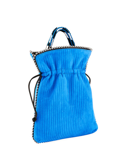 Trilly Big Suede Drawstring Pouch Bag