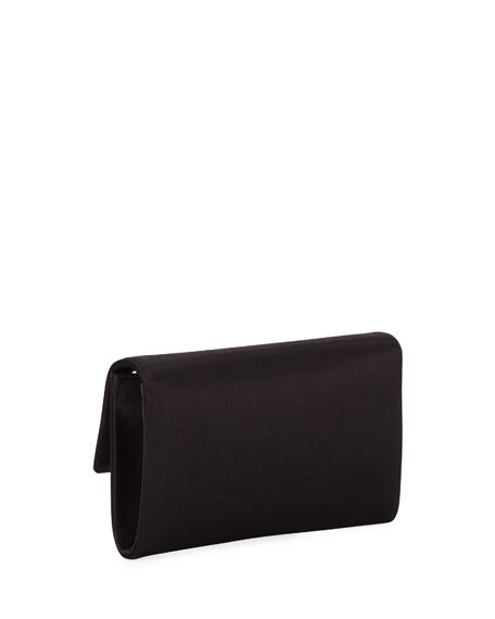 Quinn Satin Chain-Strap Clutch Bag