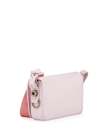 Mini Leather Flap Bag with Binder Clip, Pink