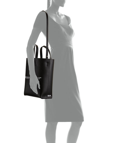 Leather For Display Only Tote Bag, Black/White