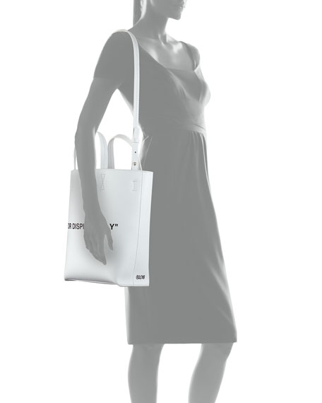 Leather For Display Only Tote Bag, White/Black