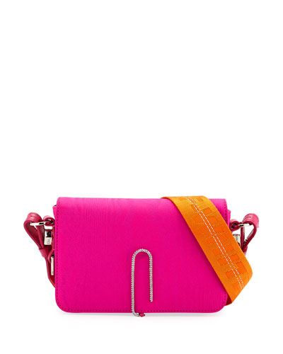 Mini Moire Fabric Crossbody Bag with Binder Clip