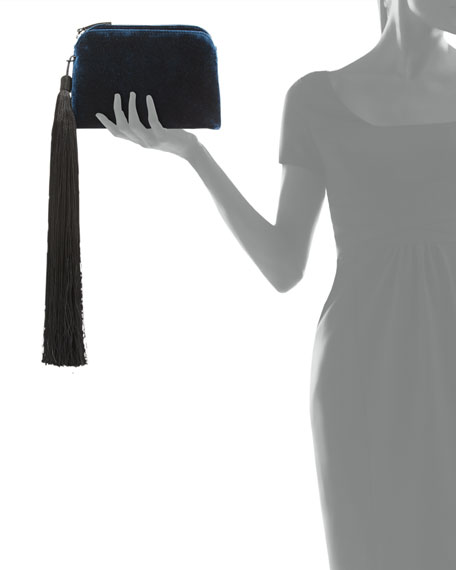 Velvet Mini Wristlet Bag with Tassel