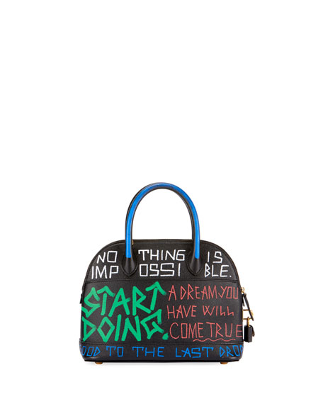 XS Graffiti Leather Top Handle Bag