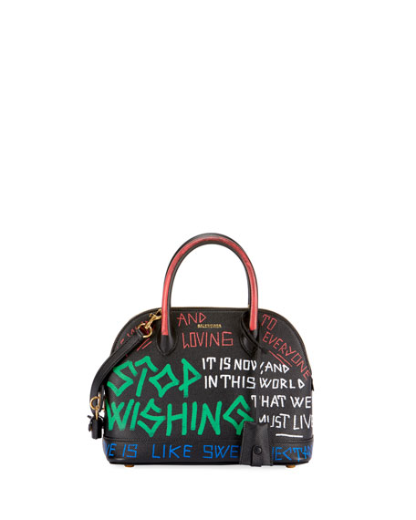 Balenciaga XS Graffiti Leather Top Handle Bag