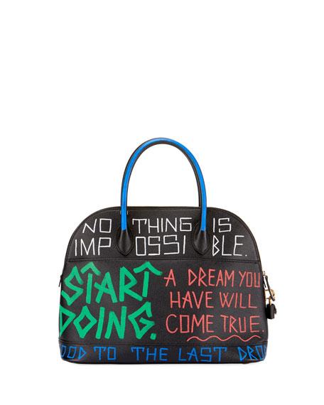 Small Graffiti Leather Top Handle Bag