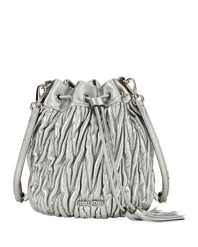 Matelasse Leather Drawstring Bucket Bag