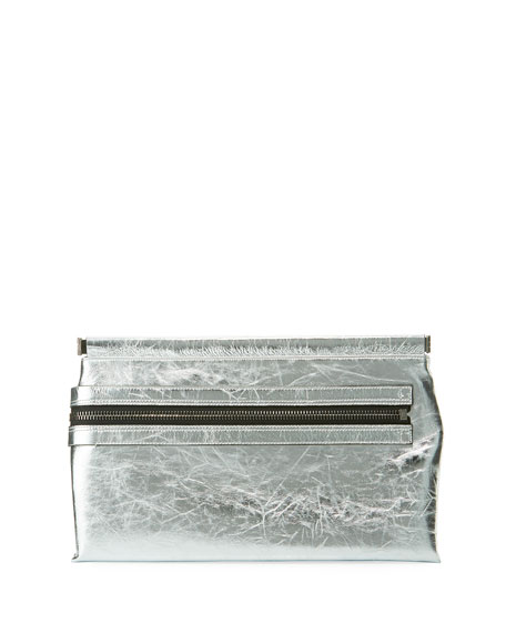 Flat Metallic Leather East-West Frame Clutch Bag in Silver