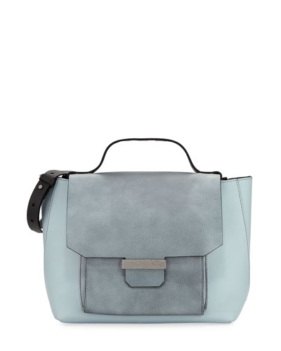 Mix Metallic Leather Top Handle Bag