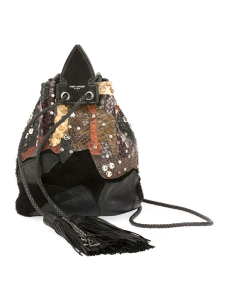 Saint Laurent Anja Python Multicolor Bucket Bag