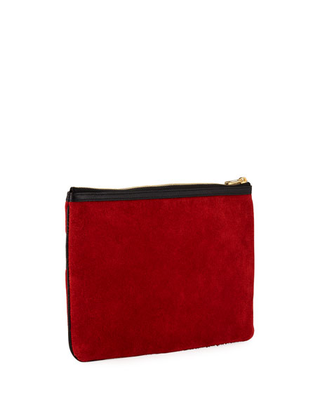 Ophidia Large Suede Zip Pouch Bag