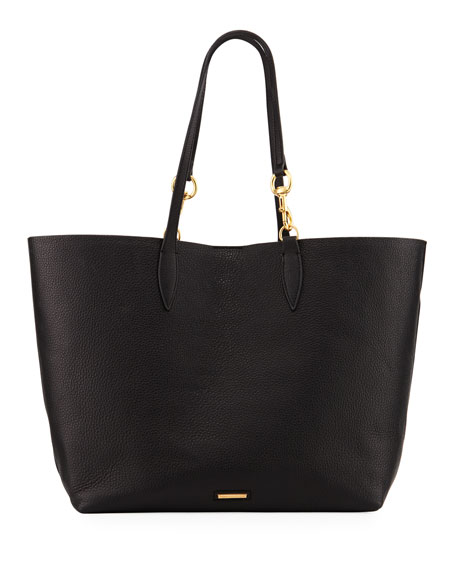 SHERRY DOG CLIP LEATHER TOTE - BLACK
