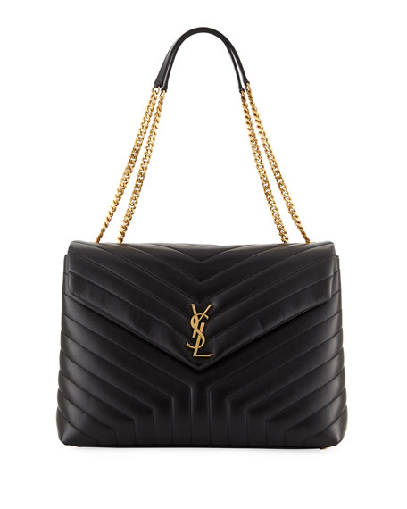 Saint Laurent Loulou Monogram YSL Large V-Flap Chain
