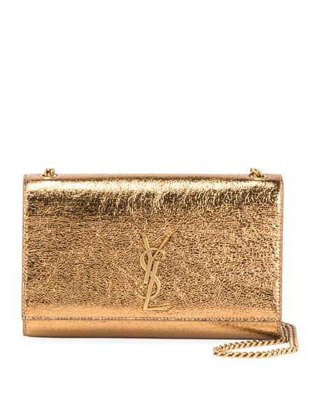 Saint Laurent Kate Monogram Medium Metallic Leather Shoulder