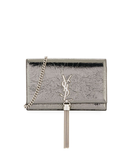 Monogram YSL Kate Crinkled Metallic Tassel Wallet on Chain