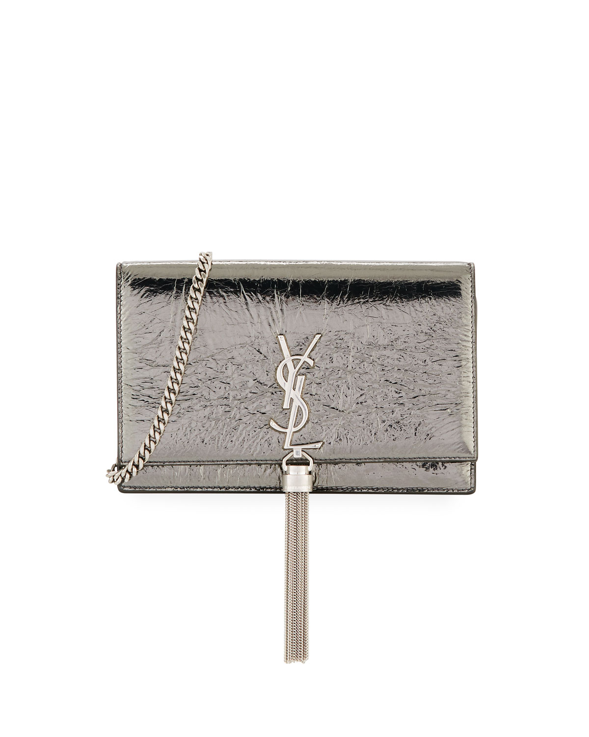 Saint LaurentMonogram YSL Kate Crinkled Metallic Tassel Wallet on Chain cfb38edf668d1