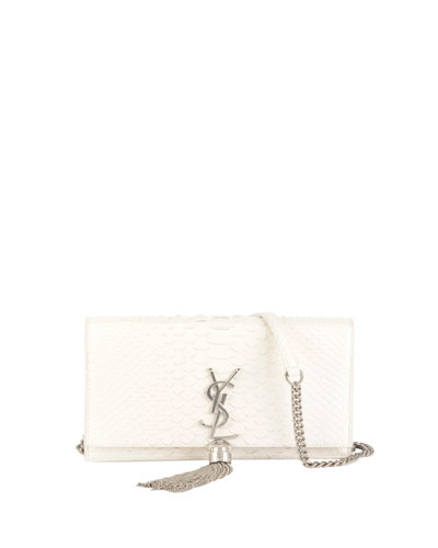 Kate Monogram Small Shiny Python Tassel Wallet on Chain