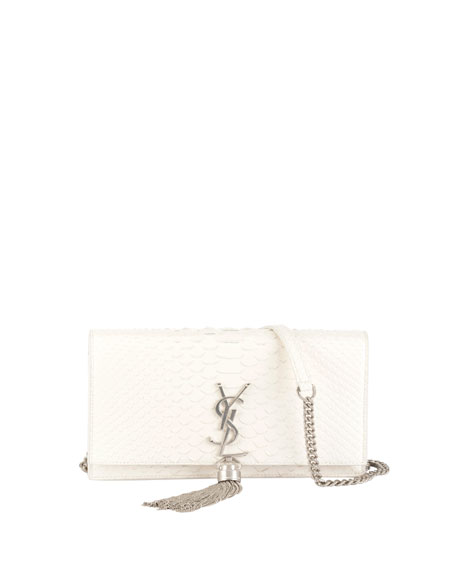 Saint Laurent Kate Monogram Small Shiny Python Tassel