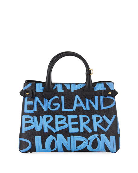 Burberry Banner Medium Leather Graffiti Top Handle Bag