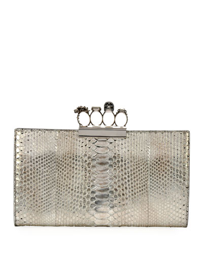 Knuckle Python Flat Clutch Bag