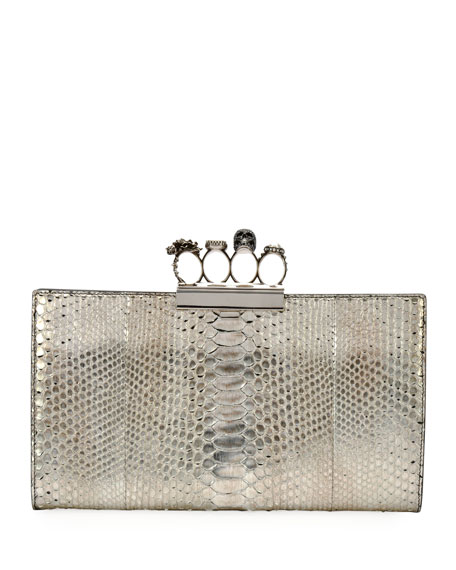 Alexander McQueen Knuckle Python Flat Clutch Bag