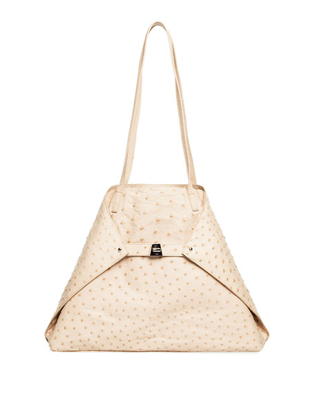 AI Medium Soft Ostrich Shoulder Bag