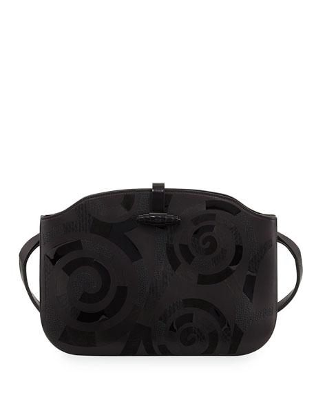 Croissant Coil-Mosaic Calfskin Shoulder Bag