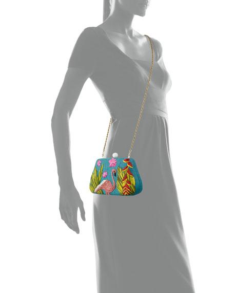 Rosie Small Straw Clutch Bag with Flamingo