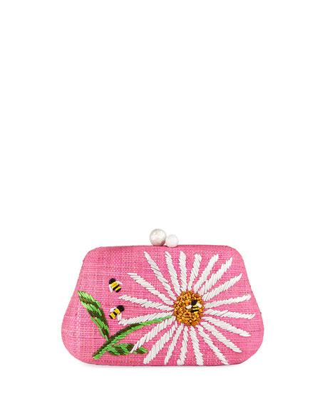 Rafe ROSIE SMALL STRAW CLUTCH BAG WITH DAISY FLOWER