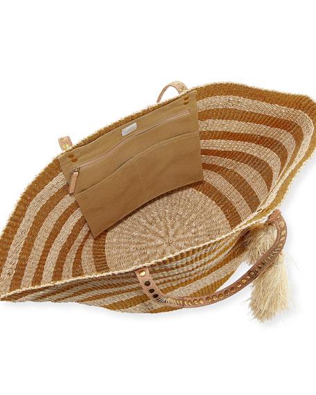 Sunni Large Straw Beach Tote Bag, Gold