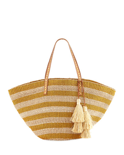 Sunni Large Straw Beach Tote Bag, Gold