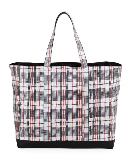 Woven Plaid Shopping Bag