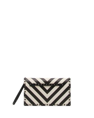 Rockstud V-Stripe Clutch Bag