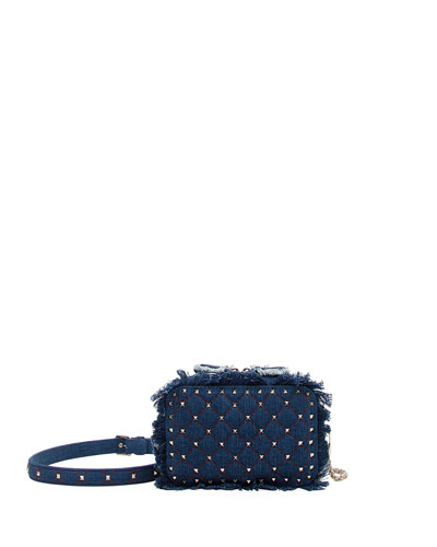 Rockstud Spike Fringed Denim Crossbody Bag