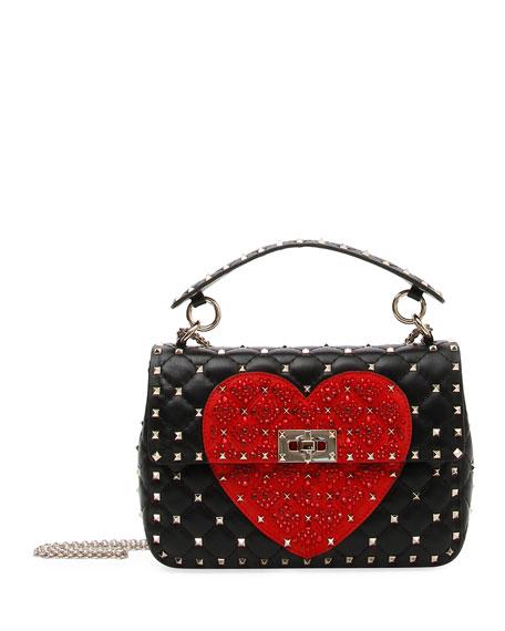 Spike. It Medium Quilted Heart Shoulder Bag, Black/Red