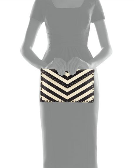 Rockstud V.Stripes Large Flat Clutch Bag