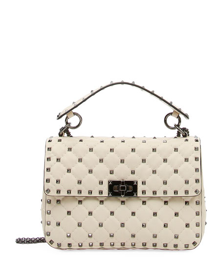 Ruthenium Rockstud Spike Medium Shoulder Bag