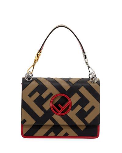 Kan I F Logo Leather Shoulder Bag