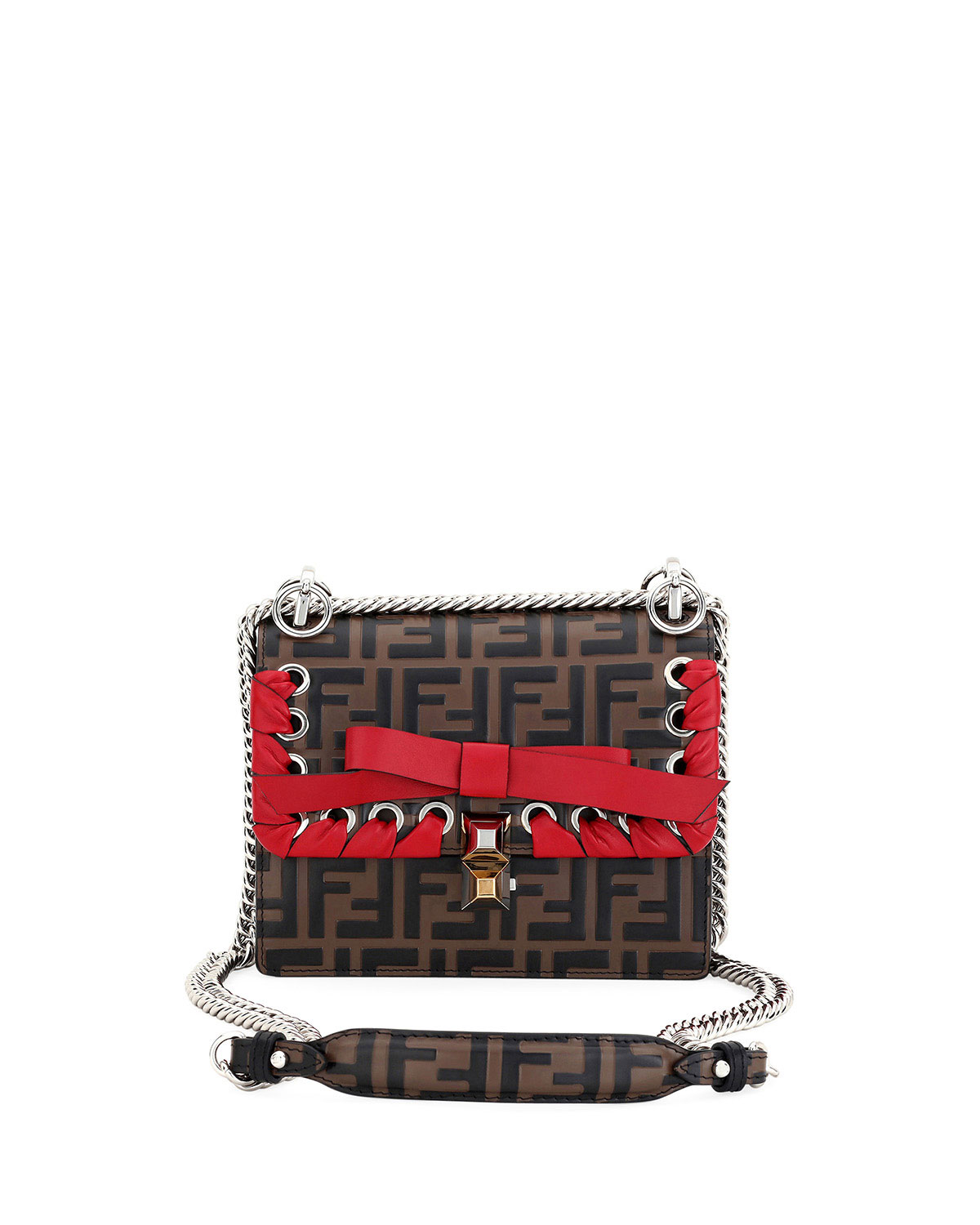 Fendi Kan I Small FF Embossed Shoulder Bag with Ribbon  008ab5feb9a8a