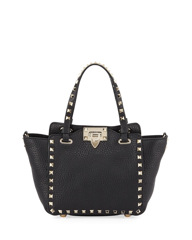 07152aefd6819 Valentino Garavani Rockstud Mini Vitello Leather Tote Bag